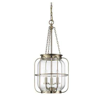 3-Light Noble Brass Pendant with Clear Glass