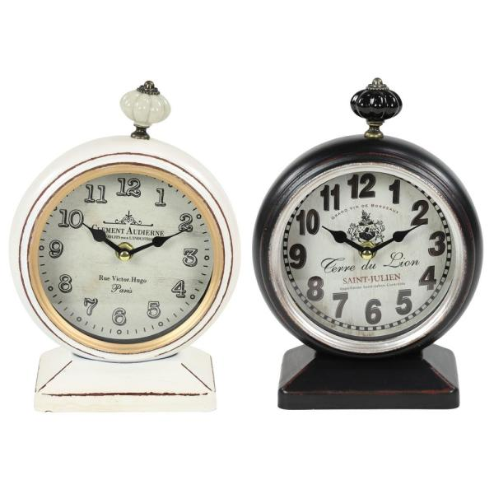 White Metal Vintage Analog Tabletop Clock (Set of 2)