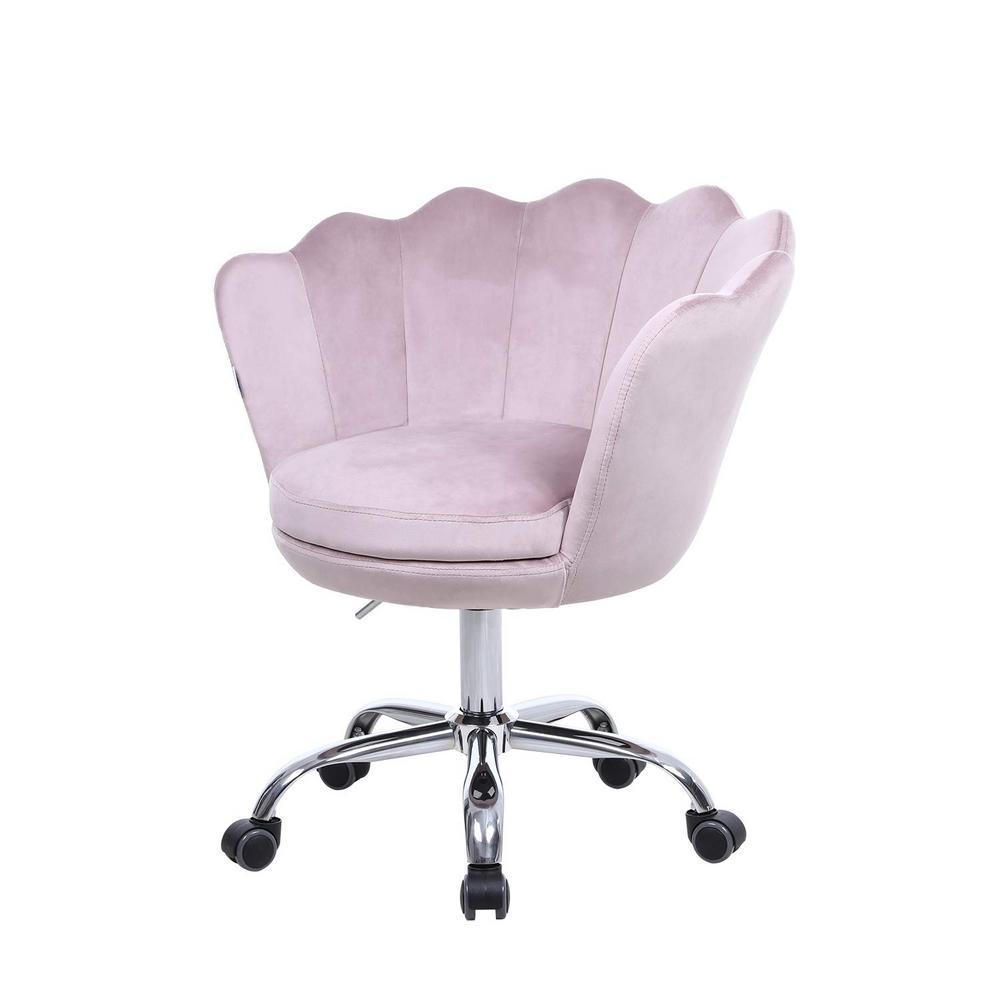 Boyel Living Pink Velvet Swivel Office Desk Chair Shell Height
