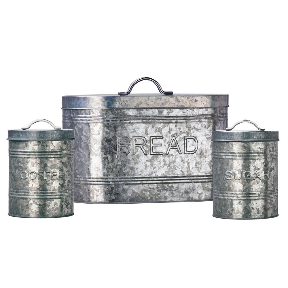 Amici home rustic kitchen metal storage canister set with galvanized