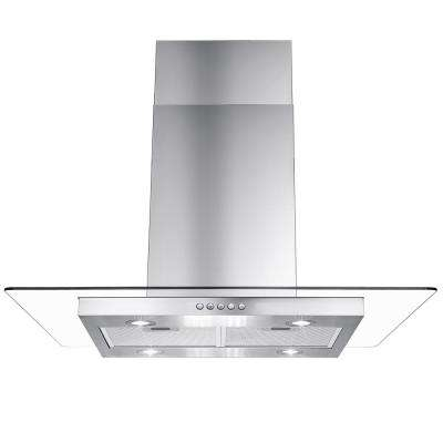 36 in. Kitchen Convertible Island Mount Range Hood in Stainless Steel with Tempered Glass, LEDs and Push Button Control