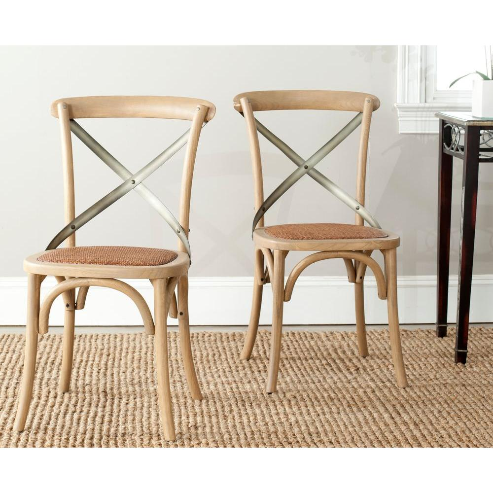 Charmant Safavieh Eleanor Weathered Oak X Back Side Chair (Set Of 2)