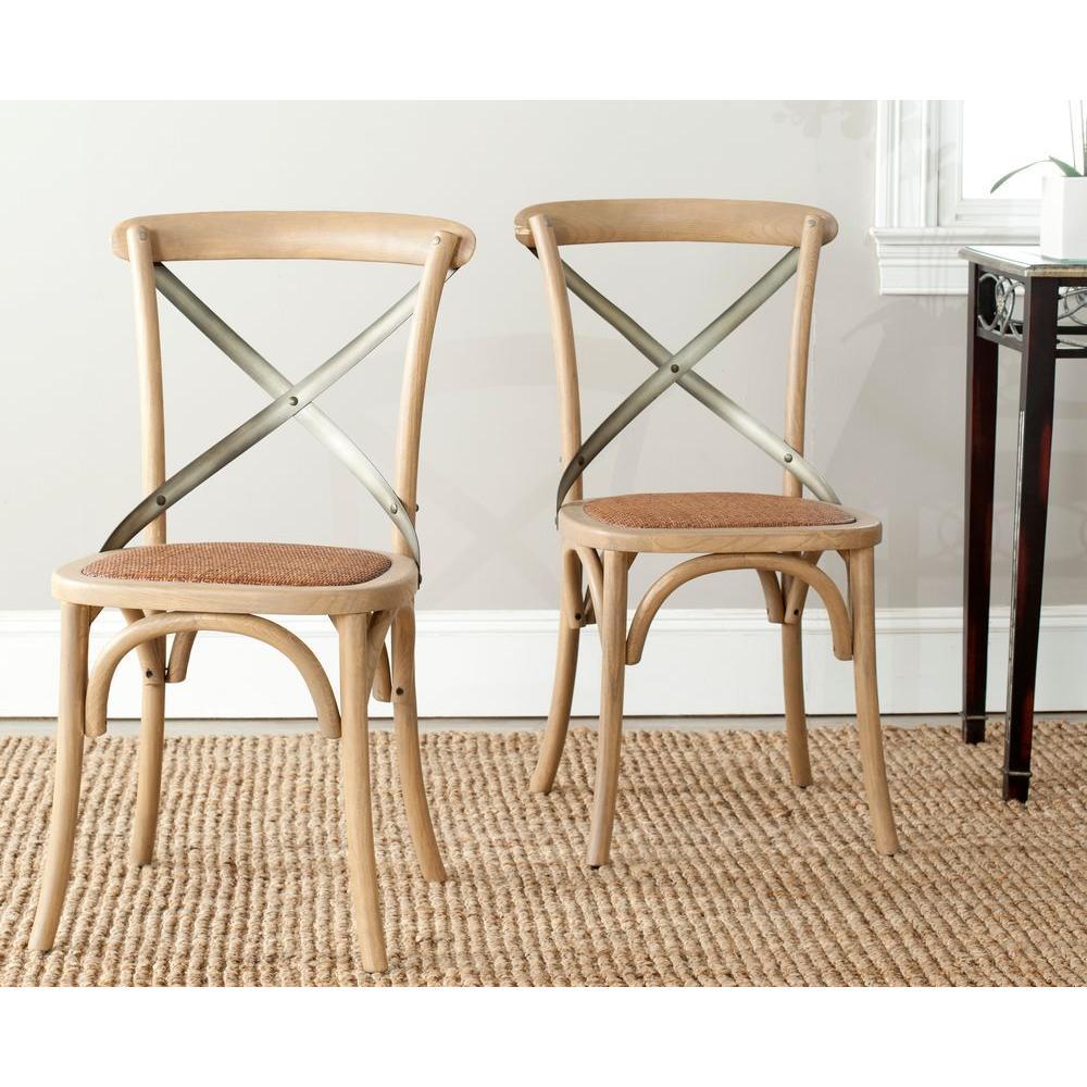 Eleanor Weathered Oak X Back Side Chair (Set Of 2)
