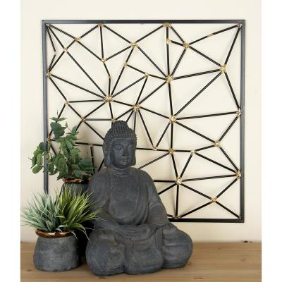 Black and Gold Geometric-Inspired Iron Wall Decor