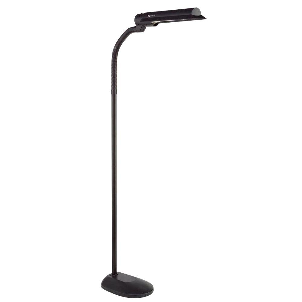 OttLite 50 in. Gooseneck Black Floor Lamp-T81G5T-SHPR - The Home Depot