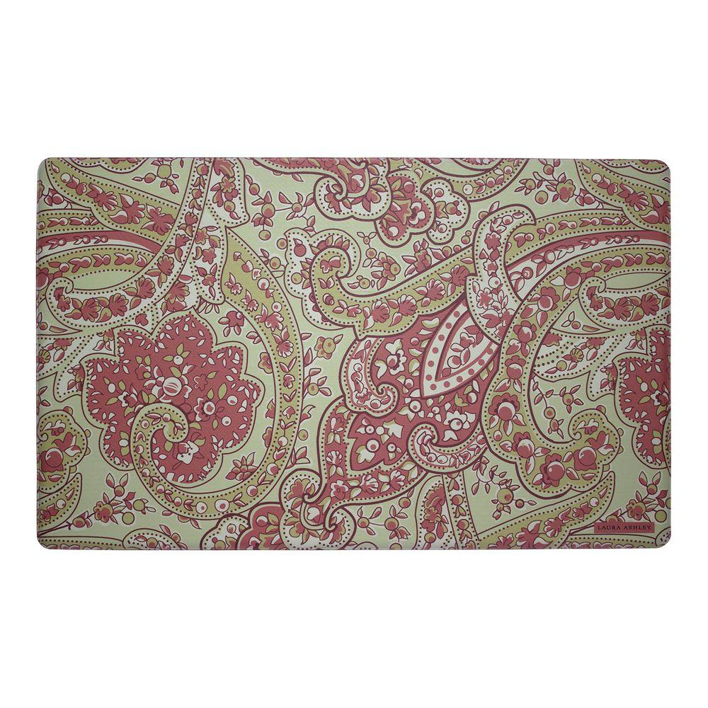 Laura Ashley Vanessa Rust 20 in. x 32 in. Memory Foam Kitchen Mat ...