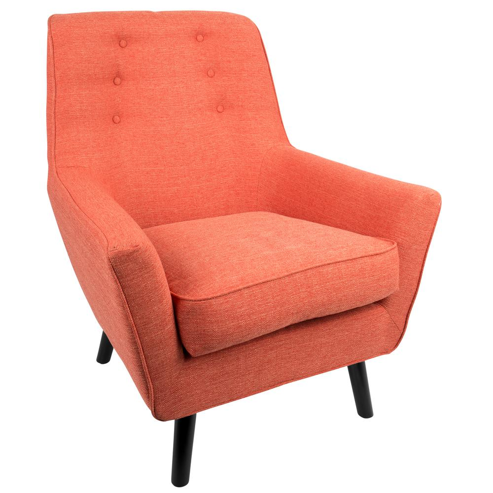 Lumisource Vail Mid Century Orange Modern Upholstered Arm Chair