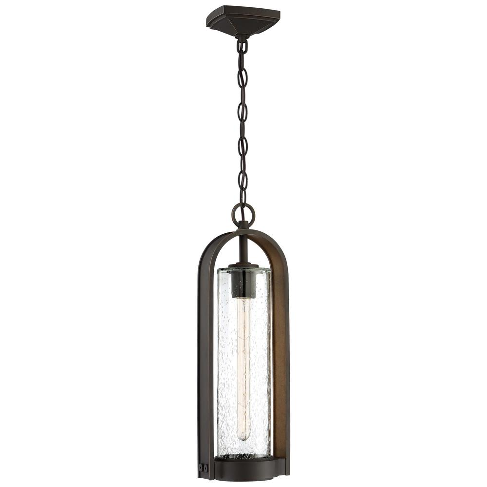 The Great Outdoors Kamstra Collection Oil Rubbed Bronze Outdoor 1-Light Hanging Lantern with Gold Highlights