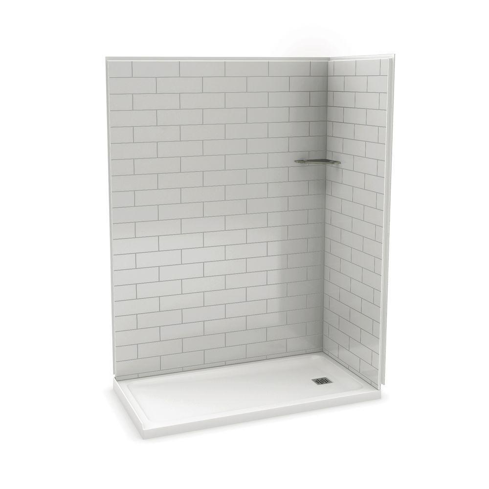 Utile Metro 32 in. x 60 in. x 83.5 in. Corner Shower Stall in Soft Grey with Right Drain Base in White