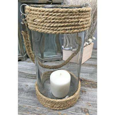 Jute Rope Glass Large Round Candle Holder