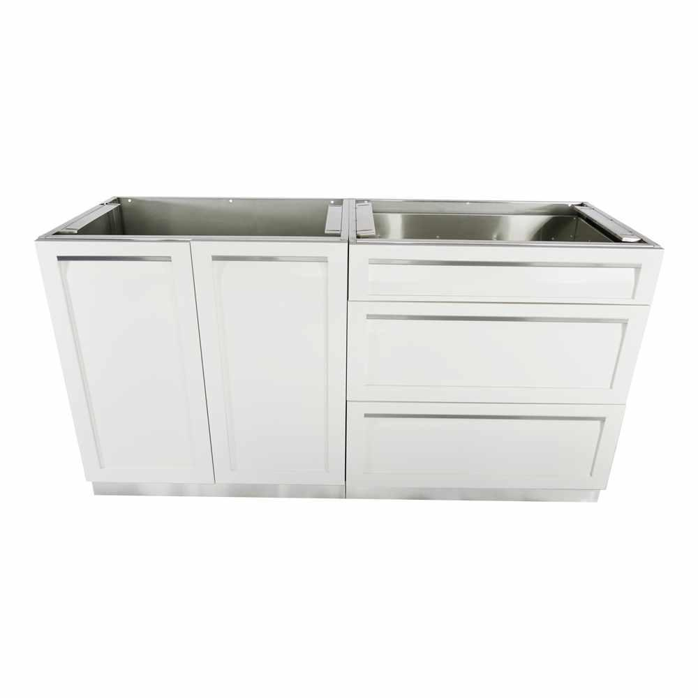 Stainless steel 2 piece 64x35x22 5 in outdoor kitchen cabinet set with powder coated doors in white