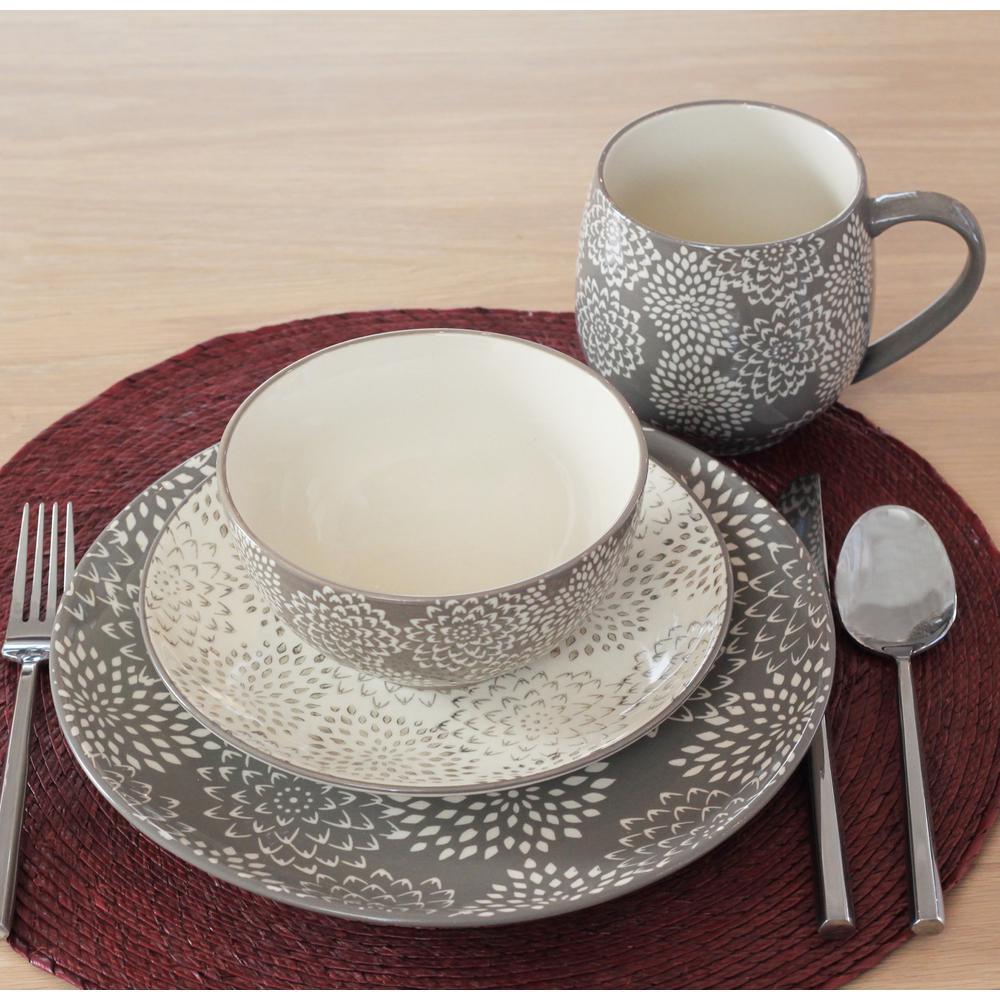 Mums Grey 16-Piece Dinnerware Set