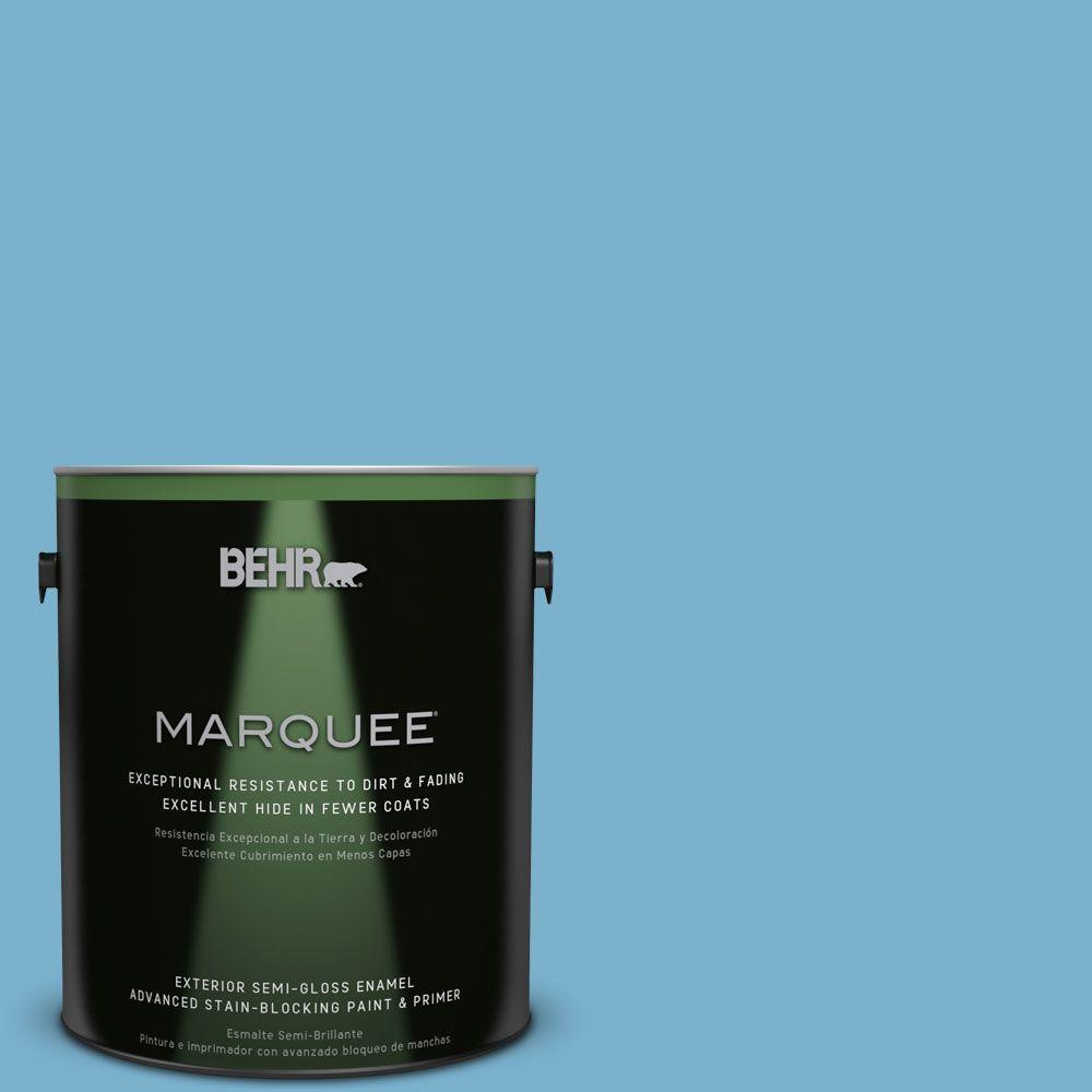 BEHR MARQUEE 1-gal. #M490-4 Frisky Blue Semi-Gloss Enamel Exterior Paint