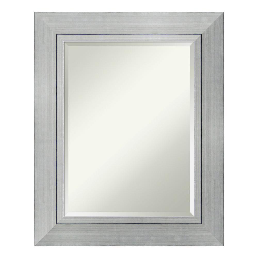 Romano 25 in. W x 31 in. H Framed Rectangular Beveled Edge Bathroom Vanity Mirror in Burnished Silver