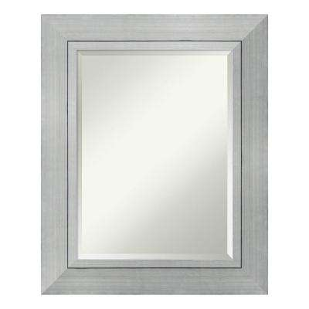 Romano Silver Wood 26 in. x 32 in. Contemporary Bathroom Vanity Mirror