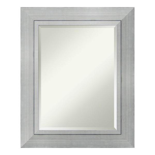 Romano 25 in. W x 31 in. H Framed Rectangular Beveled Edge Bathroom Vanity Mirror in Burnished Silver