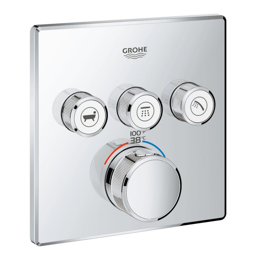 GROHE Grohtherm Smart Control Triple Function Square Thermostatic Trim with Control Module in Starlight Chrome