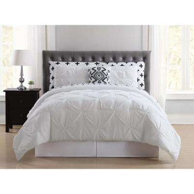Crosses Pleated White King Bed in a Bag