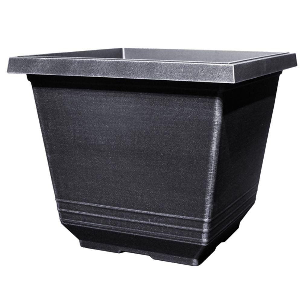 14 inch Torino Square Silver Plastic Planter by