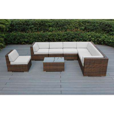 Ohana Mixed Brown 8-Piece Wicker Patio Seating Set with Sunbrella Natural Cushions