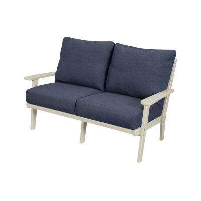 Grant Park Sand Deep Seating Plastic Outdoor Loveseat with Stone Blue Cushions