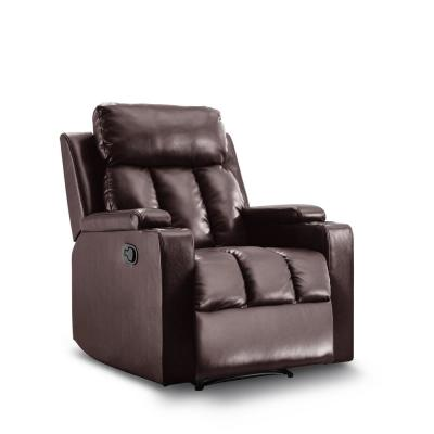 Brown Leatherette Recliner Cozy with Cupholders