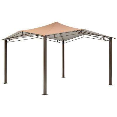 12 ft. D x 12 ft. W Sequoia High-Quality Steel Gazebo in Bronze with UV-Protected Cover and Unique Vented Roof