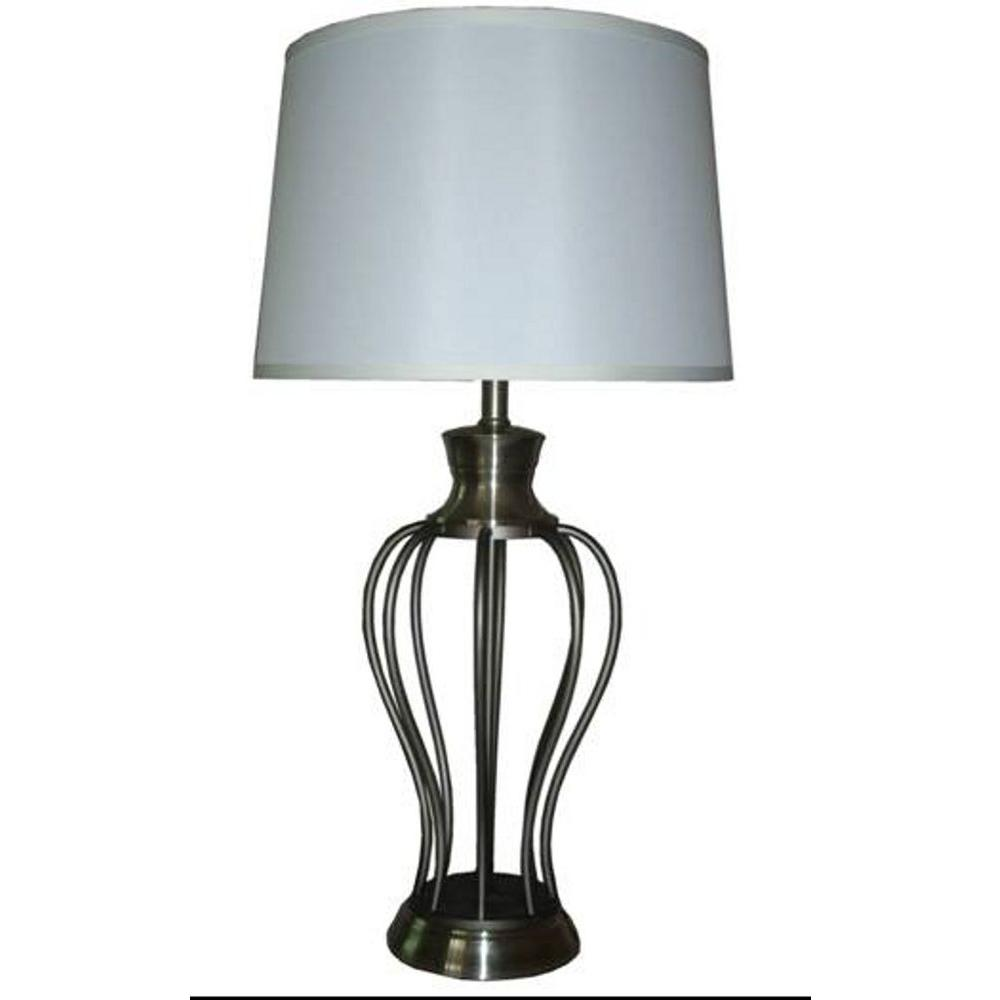 Fangio Lighting 30.5 in. Metal Table Lamp, Brushed Steel-DISCONTINUED