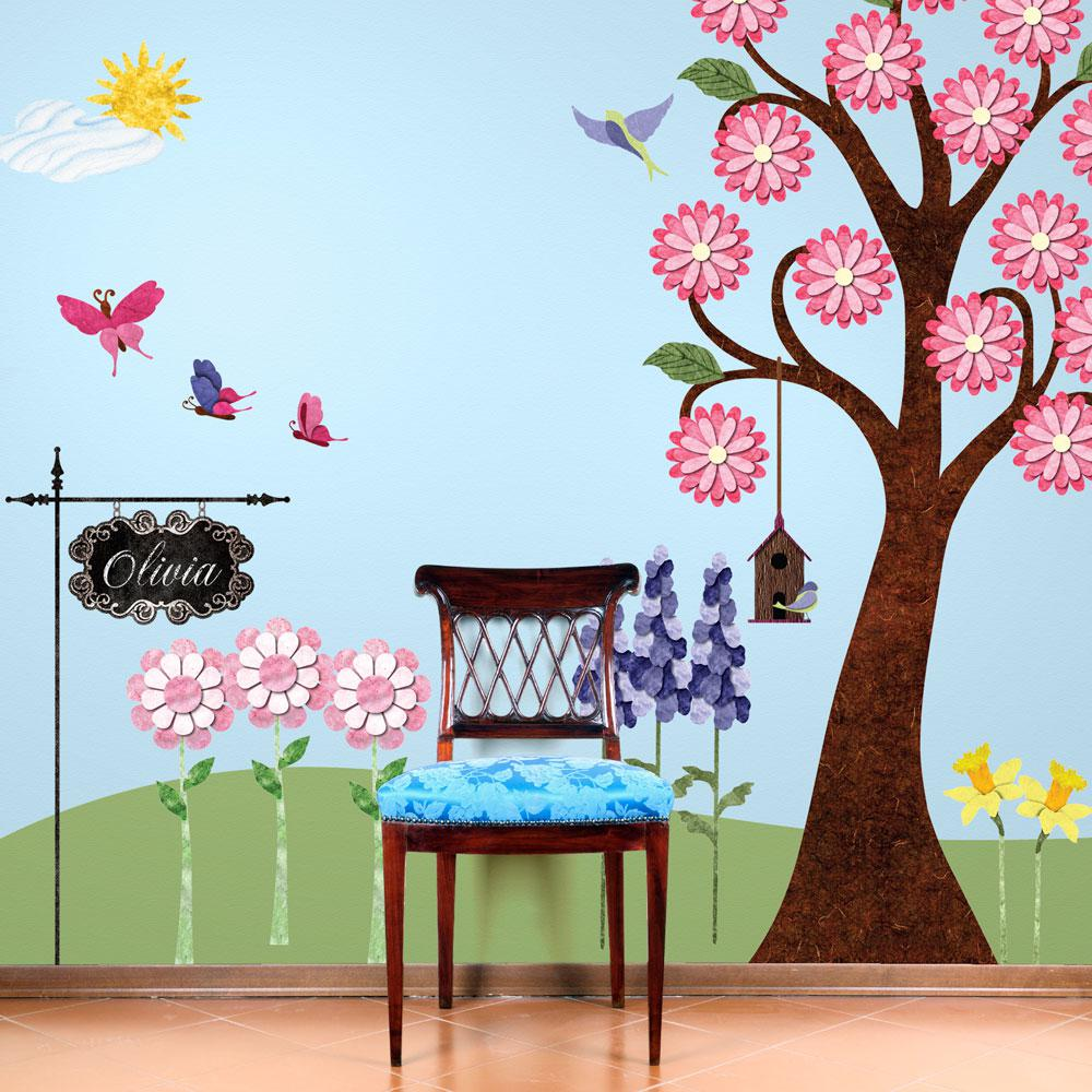 Flowering Pink Tree and Flower Garden Peel and Stick Removable Wall