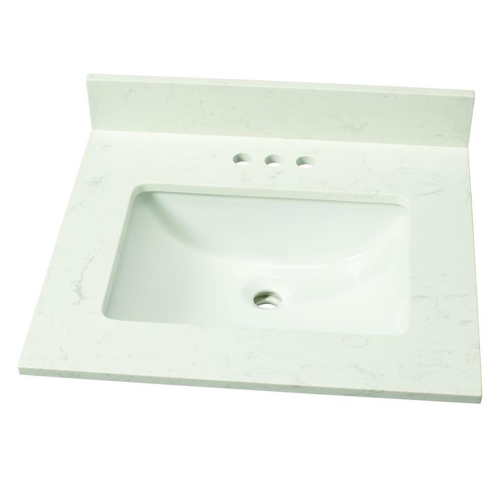 25 in. W Engineered Marble Single Sink Vanity Top in Vanilla Sky with White Sink