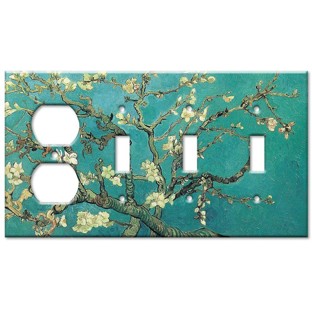 Art Plates Van Gogh Almond Blossoms Outlet/Triple Switch Combo Wall Plate