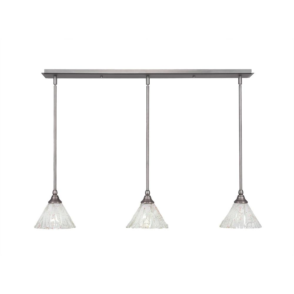Cambridge 3 Light Brushed Nickel Island Pendant With Clear Seeded Gl