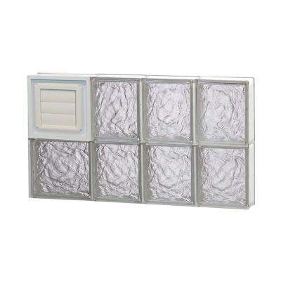 25 in. x 15.5 in. x 3.125 in. Ice Pattern Glass Block Window with Dryer Vent