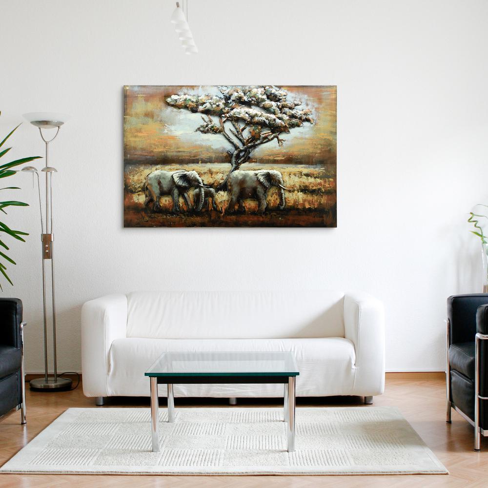 """Elephants"" Mixed Media Iron Hand Painted Dimensional Wall Dcor"