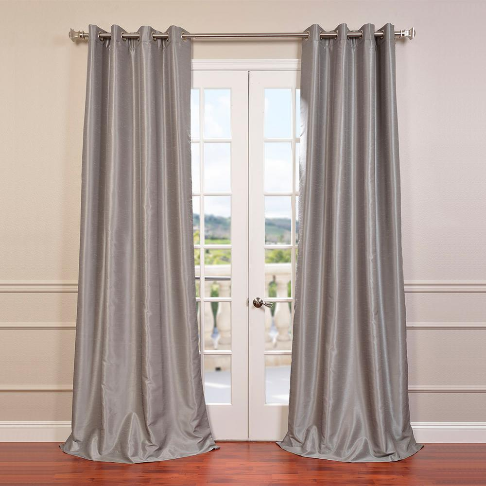Exclusive Fabrics & Furnishings Silver Grommet Blackout Vintage Textured Faux Dupioni Silk Curtain - 50 in. W x 108 in. L