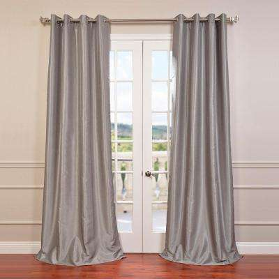 Silver Grommet Blackout Vintage Textured Faux Dupioni Silk Curtain - 50 in. W x 96 in. L