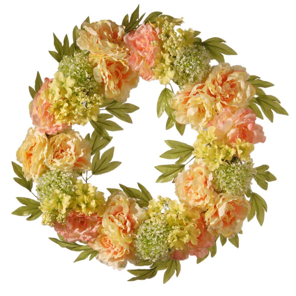 24 in. Cream Peony Wreath