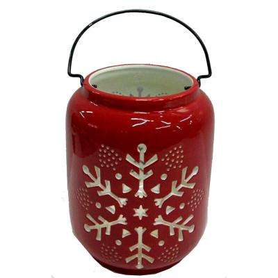 8 in. Traditional Lantern with Red Snowflake