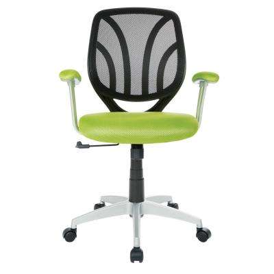 Green Mesh Screen Back Chair with Silver Coated Arms and Base