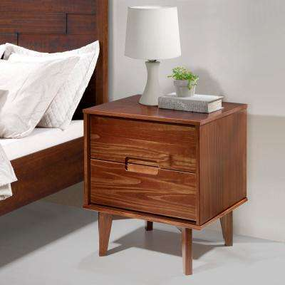 2-Drawer Walnut Mid Century Modern Wood Nightstand