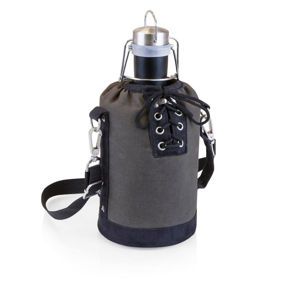 Grey and Black Insulated Growler Tote with 64 oz. Matte Black