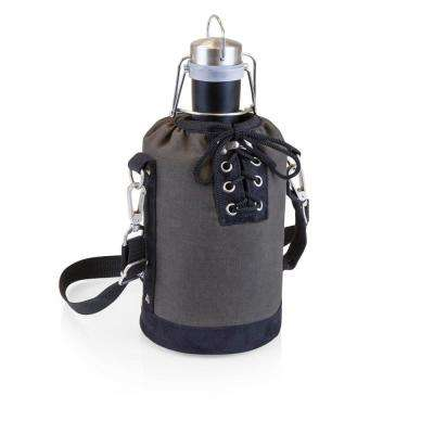 Grey and Black Insulated Growler Tote with 64 oz. Matte Black Stainless Steel Growler