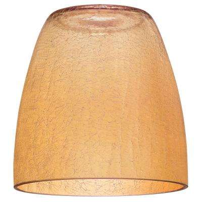 7-5/8 in. Amber Crackle Shade with 2-1/4 in. Fitter and 7-3/8 in. Width