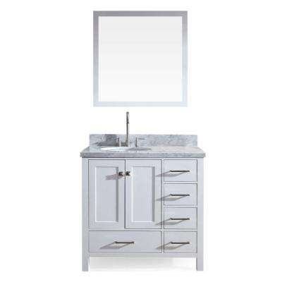 Cambridge 37 in. Bath Vanity in White with Marble Vanity Top in Carrara White with White Basin and Mirror