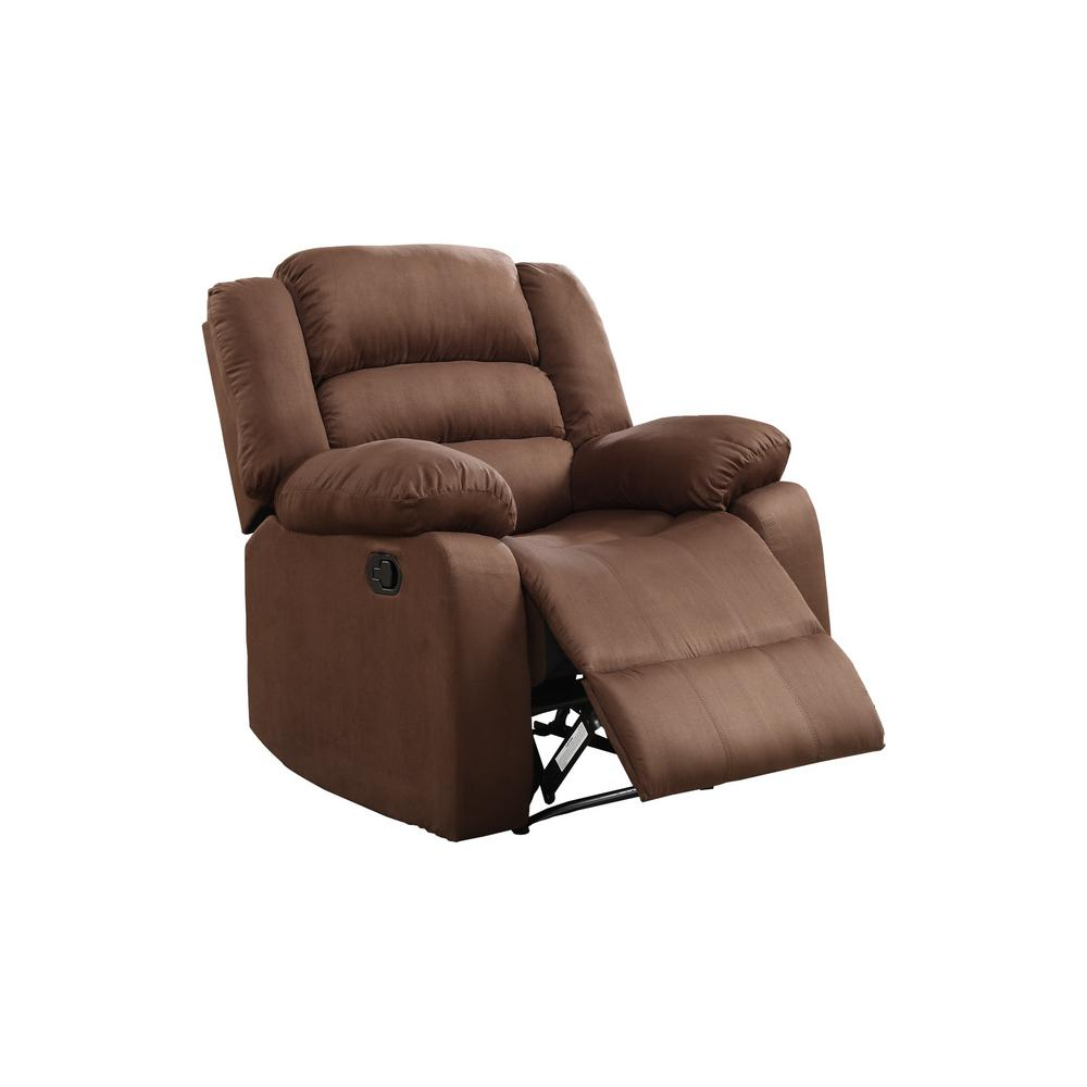 Chocolate microfiber recliner 72008 91ch the home depot