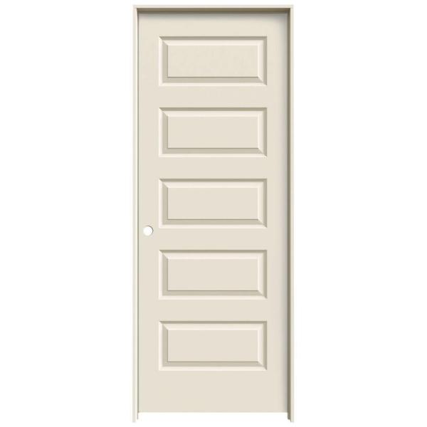 30 in. x 80 in. Rockport Primed Right-Hand Smooth Molded Composite MDF Single Prehung Interior Door