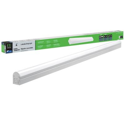 4 ft. 64-Watt Equivalent Integrated LED White Strip Light Fixture 4000K Bright White 1800 Lumens Plug-in or Direct Wire