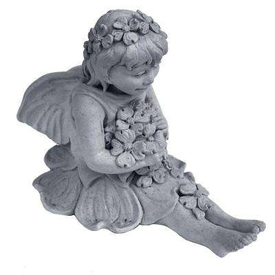 Cast Stone Fairy with Dogwood Garden Statue - Antique Gray
