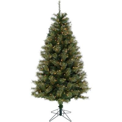 7.5 ft. LED Vermont Pine Green Christmas Tree with Clear Lights and Stand