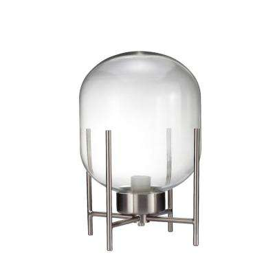 MODN 13 in. Silver Glass Shade Indoor Table Lamp
